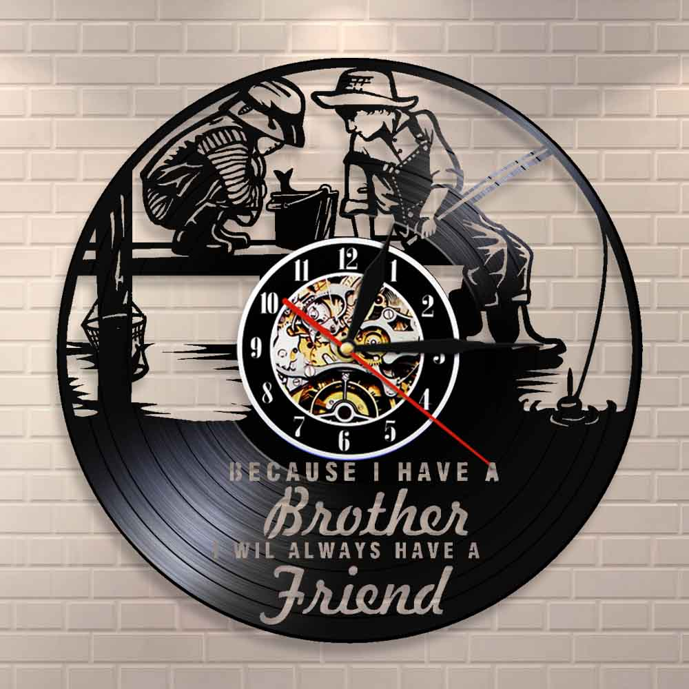 Friendship Quotes Brothers Bedroom Wall Clock Kids Fishing Nursery Wall Decor Wall Clock Brotherhood Vinyl Record Art Clock image