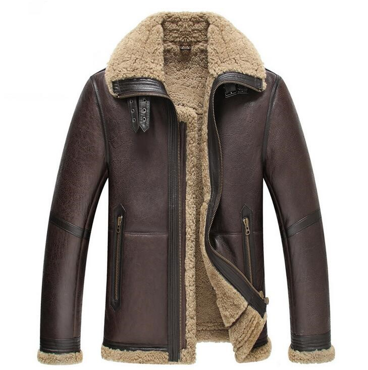 High Quality Natural Sheepskin Flight Jacket Men's Short Winter Leather Coat Fur One  New Men Genuine Leather Jacket