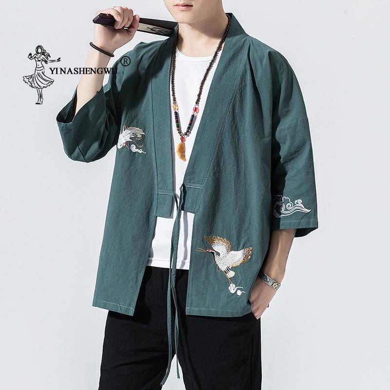 Kimono Cardigan Men Japanese Kimono Traditional Beach Thin Holiday Asian Clothes Yukata Male Fashion Casual Shirt Cotton Kimonos
