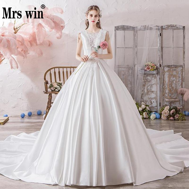 Mrs Win Wedding Dress 2020 The Bridal Luxury Satin Court Train Ball Gown Princess Sexy Illusion Wedding Dresses Hs770
