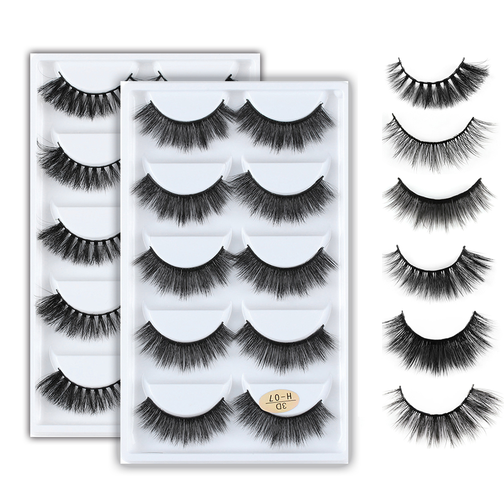 5Pairs 3D Mink Hair Natural Cross False Eyelashes Long Messy Makeup  Fake Eye Lashes Extension Make Up Beauty Tools Maquiagem