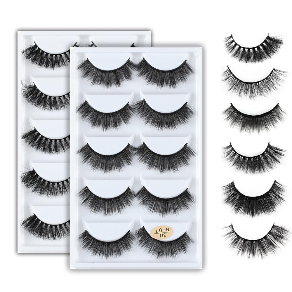 5Pairs 3D Mink Hair Natural Cross False Eyelashes Long Messy Makeup  Fake Eye Lashes Extension Make Up Beauty Tools Maquiagem