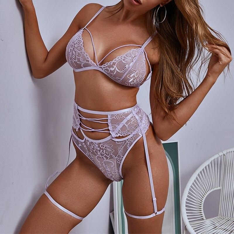 ArtSu Cute Pink Lace Lingerie Set Intimates Underwear And Panty Set Sleeveless Backless Briefs Set 3 Pieces Sexy Bra ASSU60432 5