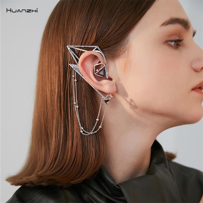 HUANZHI 2019 New Trendy Fashion Geometric Irregular Elves Metal Tassel Ear Hook  Clip Earrings For Women Girl Party Jewelry Gift