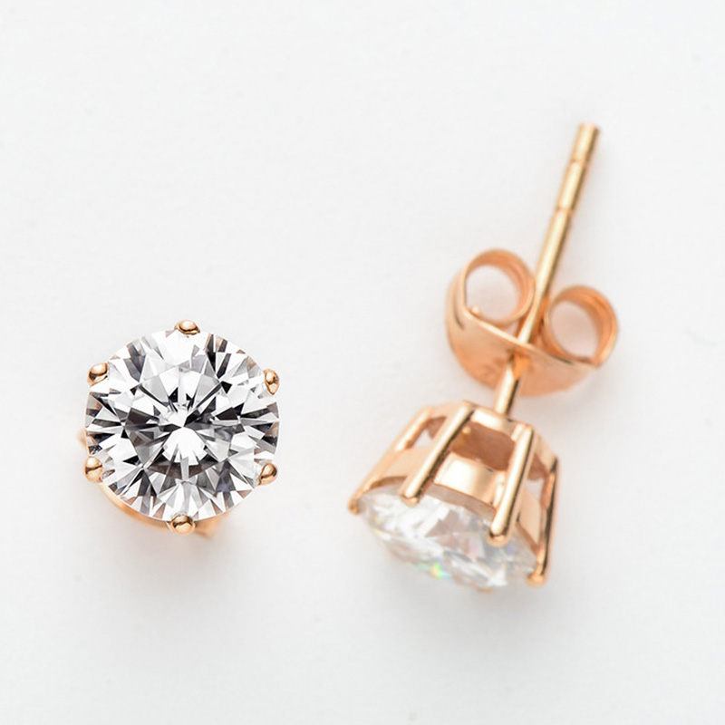 Custom made 9K Rose Gold Moissanite Earrings Classic 6 claws DF Color Engagement wedding earrings 5mm 6.5mm round moissanite