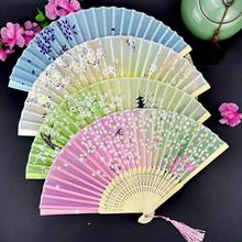 Antique Chinese bamboo silk fan dance fan folding fan wind fan silk traditional bamboo fan with painting ancient chinese golden