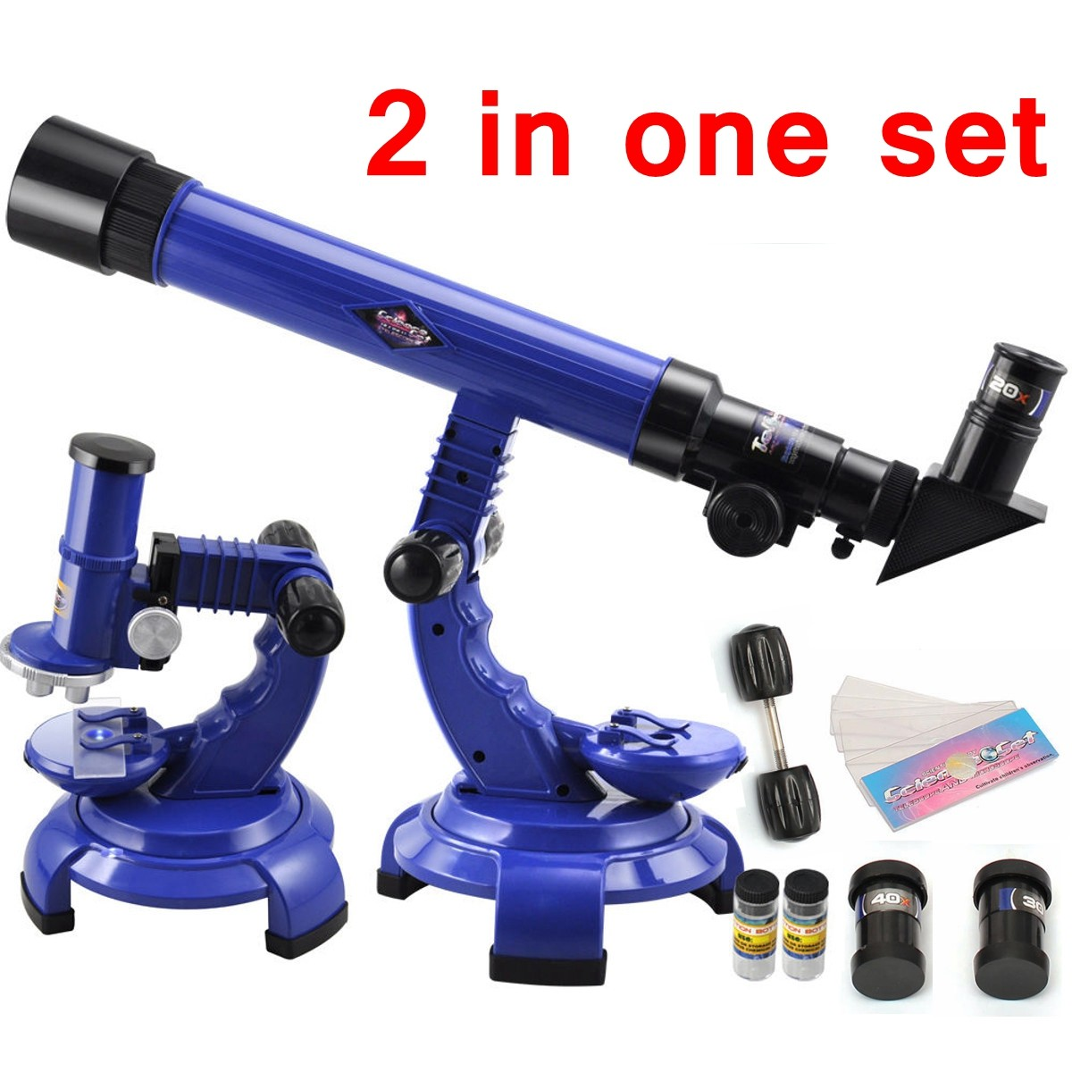 Telescope & 100x 200x 450x Microscope Educational Intelligence Toys Student Child New Year Gift Learn Science Nature Educational