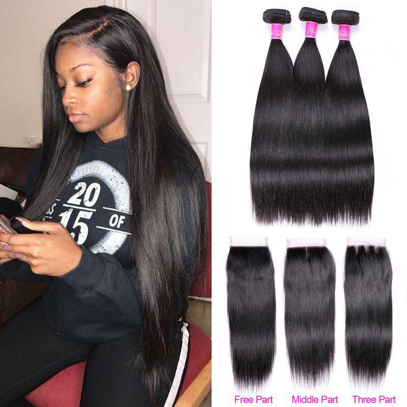 Abijale Straight Hair Bundles With Closure Brazilian Hair Weave Bundles With Closure Human Hair Bundles With Innrech Market.com