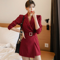 Auttumn Notched Full Sleeve Solid Sashes Women Office Short Jumpsuit Casual Cloth Work Playsuits