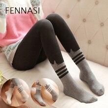 FENNASI Winter Womens Tights Warmer Devil Cat Stockings Cotton LadyJapanese Sweet Slim Pantyhose Micro Pressure