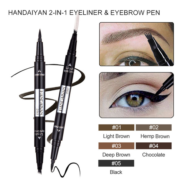 1 PC 2 in1 Double-end Liquid Eye Liner With Eyebrow Pencil Waterproof Natural Long-lasting Automatic Cosmetic Makeup Tool TSLM2 1