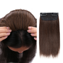 Hair-Pad Clip-In In-Extensions Isheeny One-Piece 100%Human-Hair Mini for Men Women Both-Sides