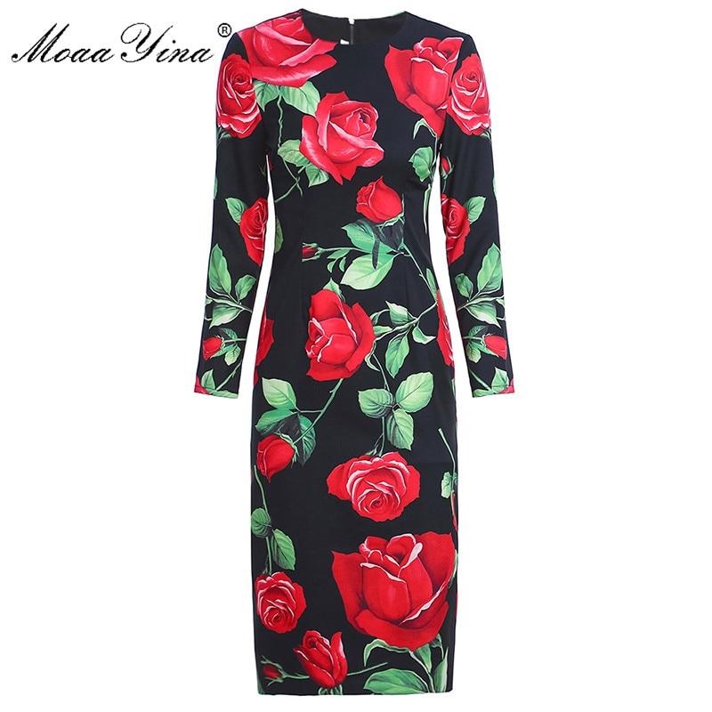 MoaaYina Fashion Designer dress Spring Autumn Women's Dress Long sleeve Rose Floral-Print Slim Dresses