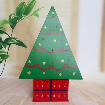 Wooden Painted Triangular Spinning Tree Calendar Decoration Christmas Decoration Creative Gifts Handmade Decorative Calendar
