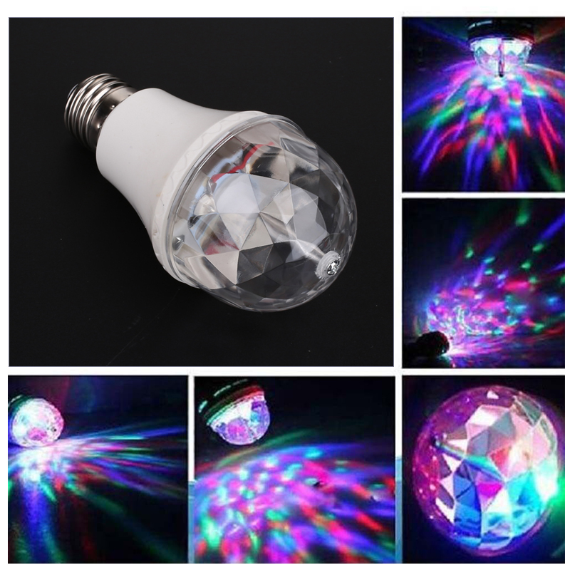 Auto Rotating LED Music Bulb 3W Colorful LED Stage Bulb Dj Equipment KTV Portable Crystal Magic Ball Light Wedding Supplies