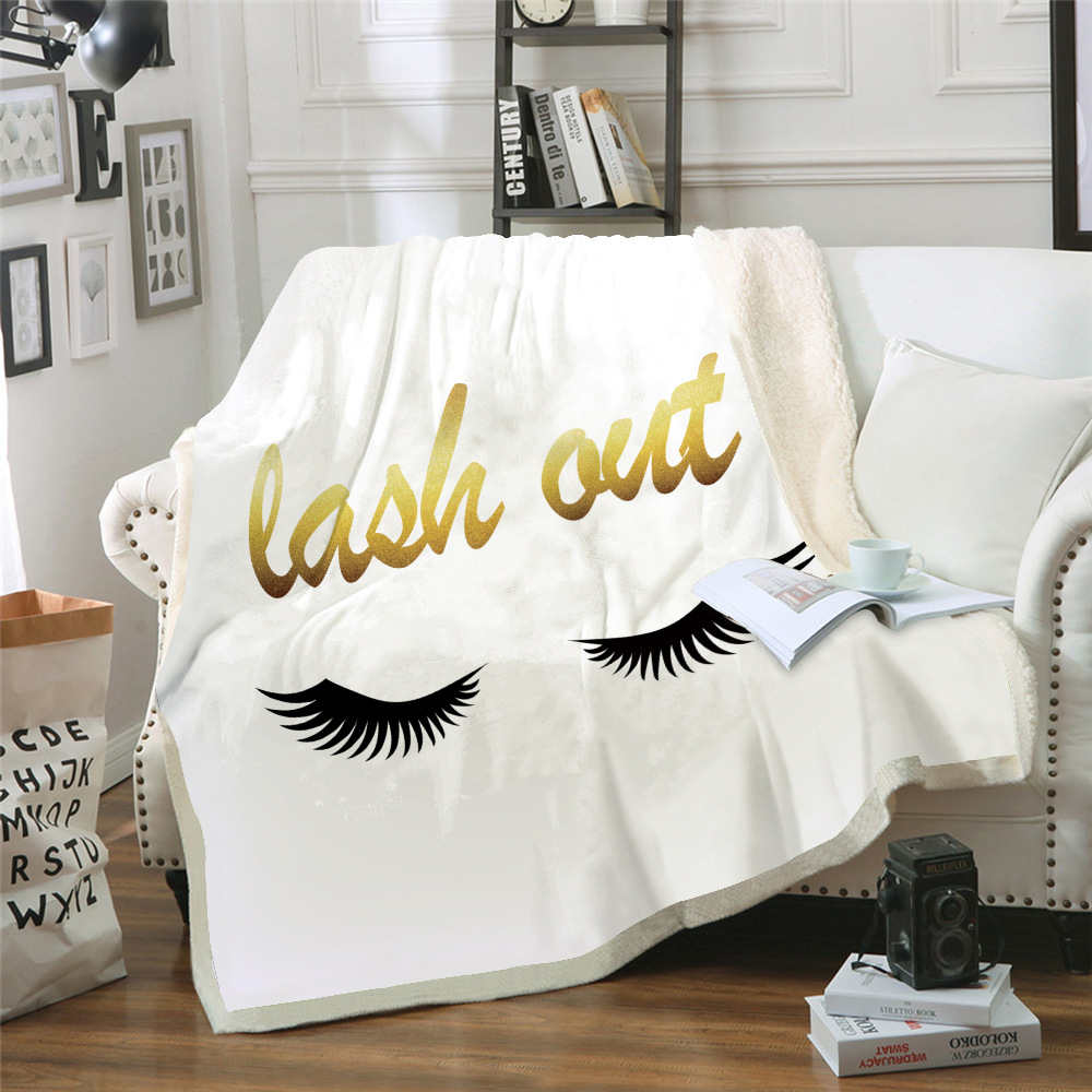 Eye lashes Throw blanket Printed Warm Weighted blankets for beds double layer Thickened Soft comfortable Home  TZ-0009
