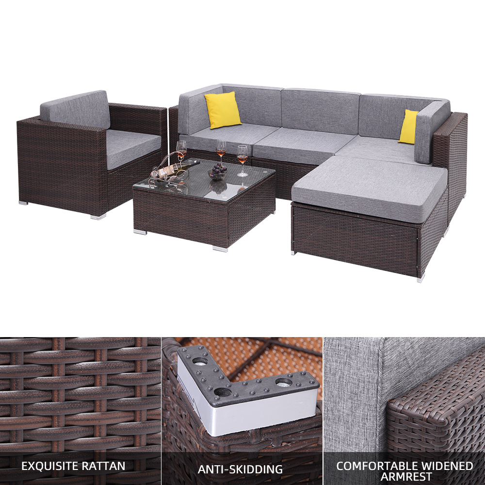 【US Warehouse】6 Pieces Patio PE Wicker Rattan Corner Sofa Set(Outdoor Rattan Sofa)
