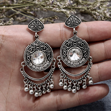 Fashion Luxury Vintage Tassel Antique Gold Big Rhinestone Earrings Jewelry Europe Indian Noble Style Womens Gif