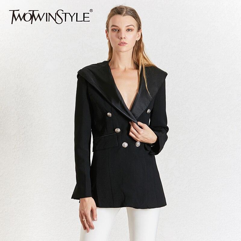 TWOTWINSTYLE Elegant Black Women's Blazer Notched Collar Long Sleeve Blazers Female Autumn Fashion 2019 Ladies OL Style New
