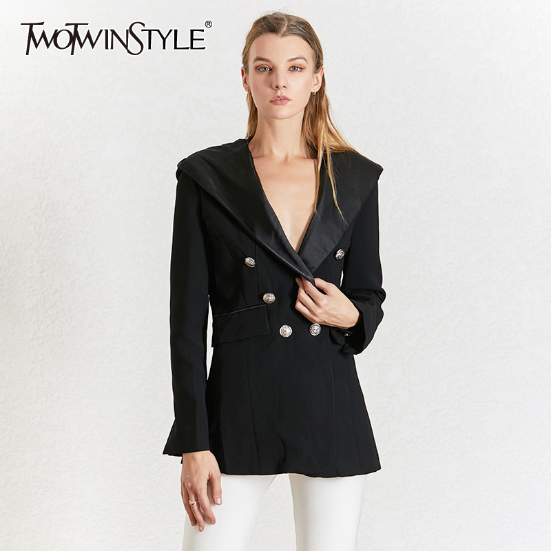 TWOTWINSTYLE Elegant Black Women's Blazer Notched Collar Long Sleeve Blazers Female Autumn Fashion 2020 Ladies OL Style New