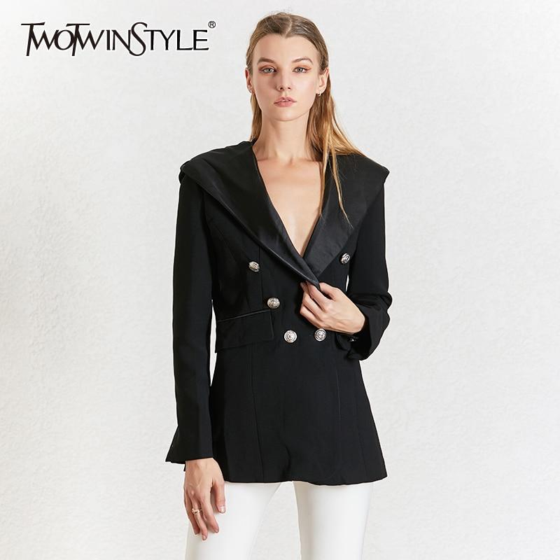 TWOTWINSTYLE Elegant Black Women's Blazer Notched Collar Long Sleeve Blazers Female Autumn Fashion 2020 Ladies OL Style New