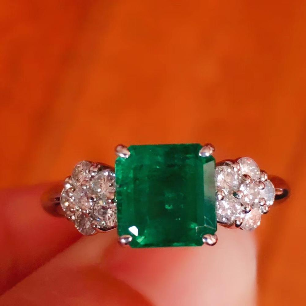 1.5ct 6.56*6.72mm Natural Emerald Pave 0.4ct Diamonds Fine Ring Real 14K White Gold Engagement Wedding Women Jewelry Ring