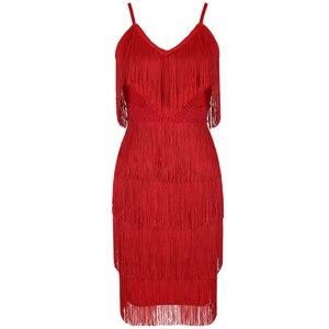 Image 3 - Ocstrade Tassel Red Bandage Dress 2020 New Designer Runway Women Elegant Bandage Dress Bodycon Vestidos Party Night Club Dress