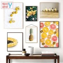 Póster de fruta fresca, pintura decorativa en lienzo para decoración del hogar, naranja, piña, Mango, Papaya, pera, imágenes impresas para comedor y cocina
