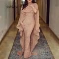 Rebicoo размера плюс длинное вечернее платье русалки женские сексуальные вечерние платья с вырезом лодочкой и блестками