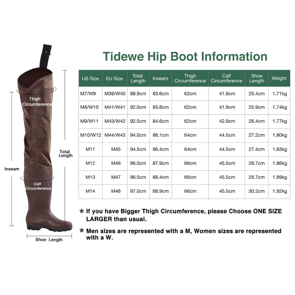 TideWe Brown Multi-purpose Hip Waders Lightweight PVC Fly Fishing Waders Hip Boots Hunting Boots for Men and Women