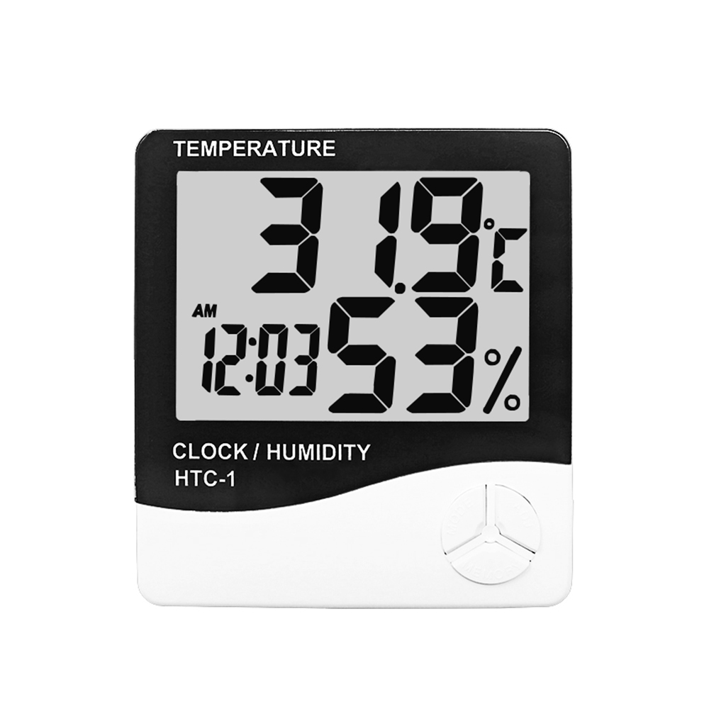 Innen Digitale <font><b>Thermometer</b></font> <font><b>Hygrometer</b></font> Temperatur Feuchtigkeit Meter Uhr HTC-1 C & F display Wetter Station image