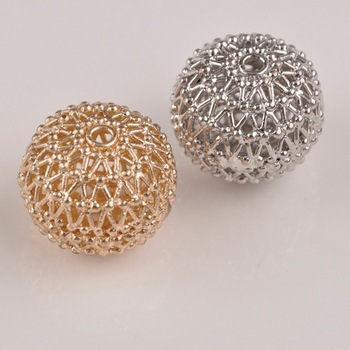 25x21mm Netting Beads Loose Jewelry Beads Spacers Dull Silver KC Gold Spacer Beads