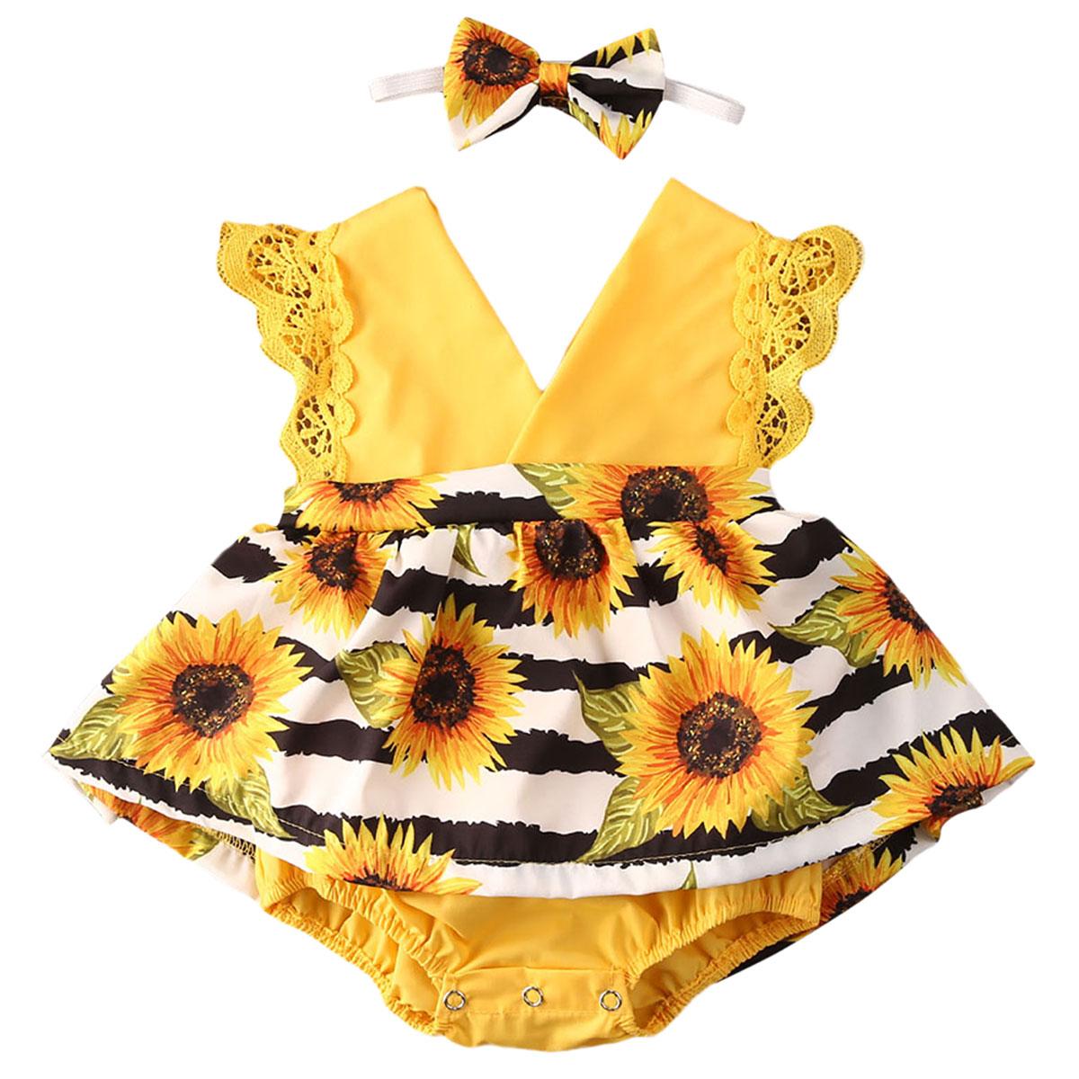 Girassóis Vestido de Meninas Sem Mangas Verão Bodysuits Do Bebê recém-nascido Bodysuits Macacões Vestido Headband 2pcs Set Roupas 0-24Months