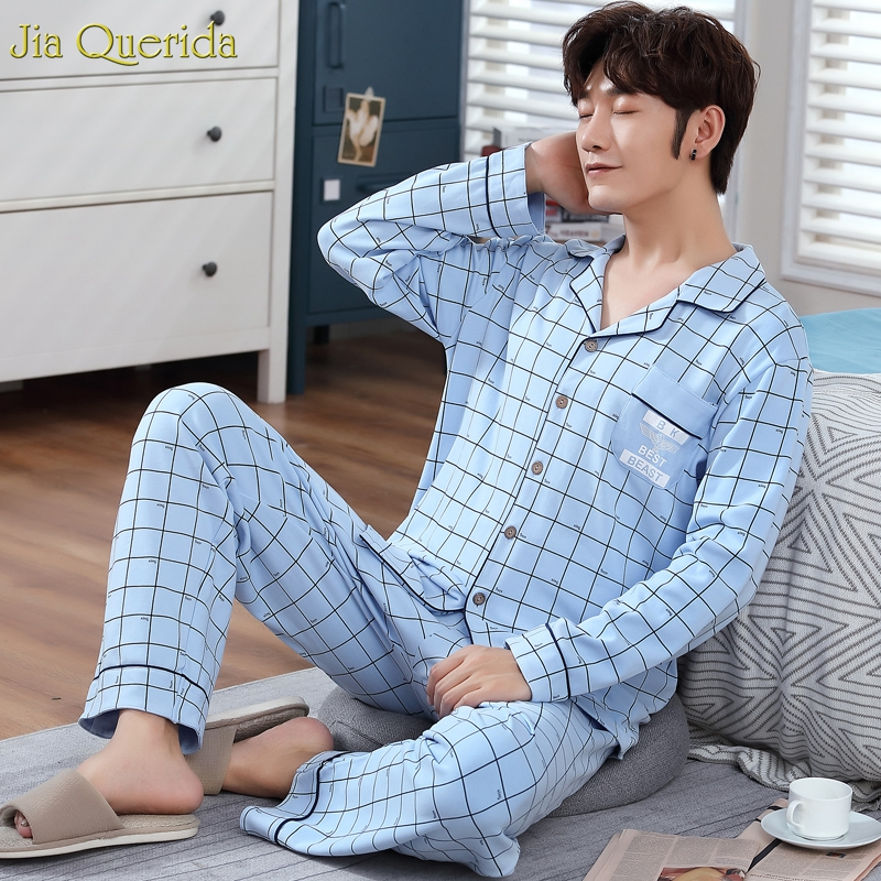Pyjama Mens Sleep & Lounge Home Wear Cotton Suit Pajama Male Long Sleeves Cardigan Nightwear Blue Plaid Printing Mens Pajama Set