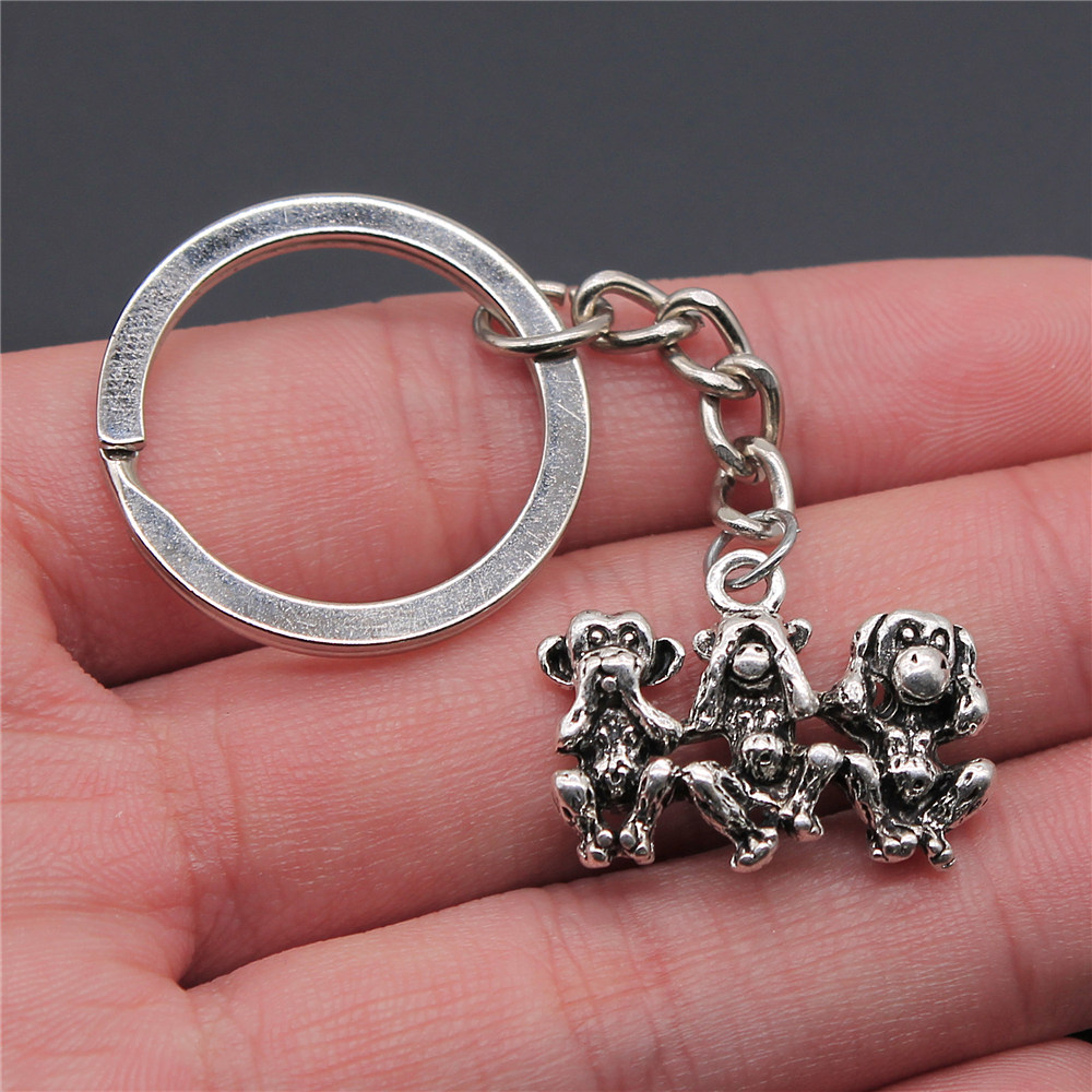 New Fashion 19x25mm Three Wise Monkeys Key Chains Gifts For Men Car Keychain Gifts For Girls 5 Pieces