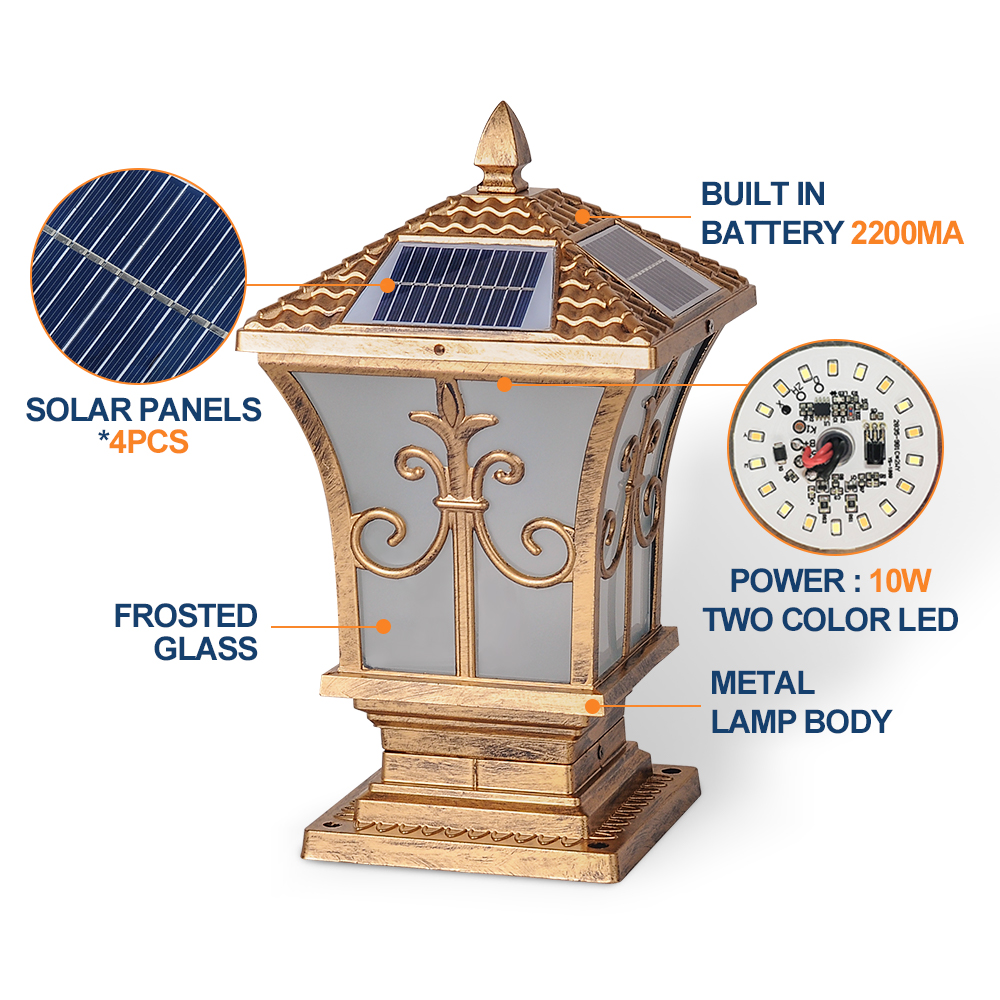 Telecomando 10W Lanterna Luce Solare Del Giardino Lampada di Ferro IP65 Impermeabile 3 Cambiamento di Colore per Esterno Cortile Uso Dingdian led - 2