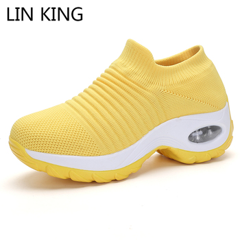 LIN KING Plus Size Casual Shoes Women Outdoor Sneakers Platform Shoes Spring Autumn Breathable Knitting Ladies Wedges Sneakers platform sneakers women shoes casual sneakers wedges platform shoes mesh breathable autumn white sneakers women zapatillas mujer
