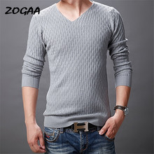 ZOGAA New Autumn Fashion Men Solid Casual V-Neck Pullover Men Cotton Mens Sweaters Pull Homme