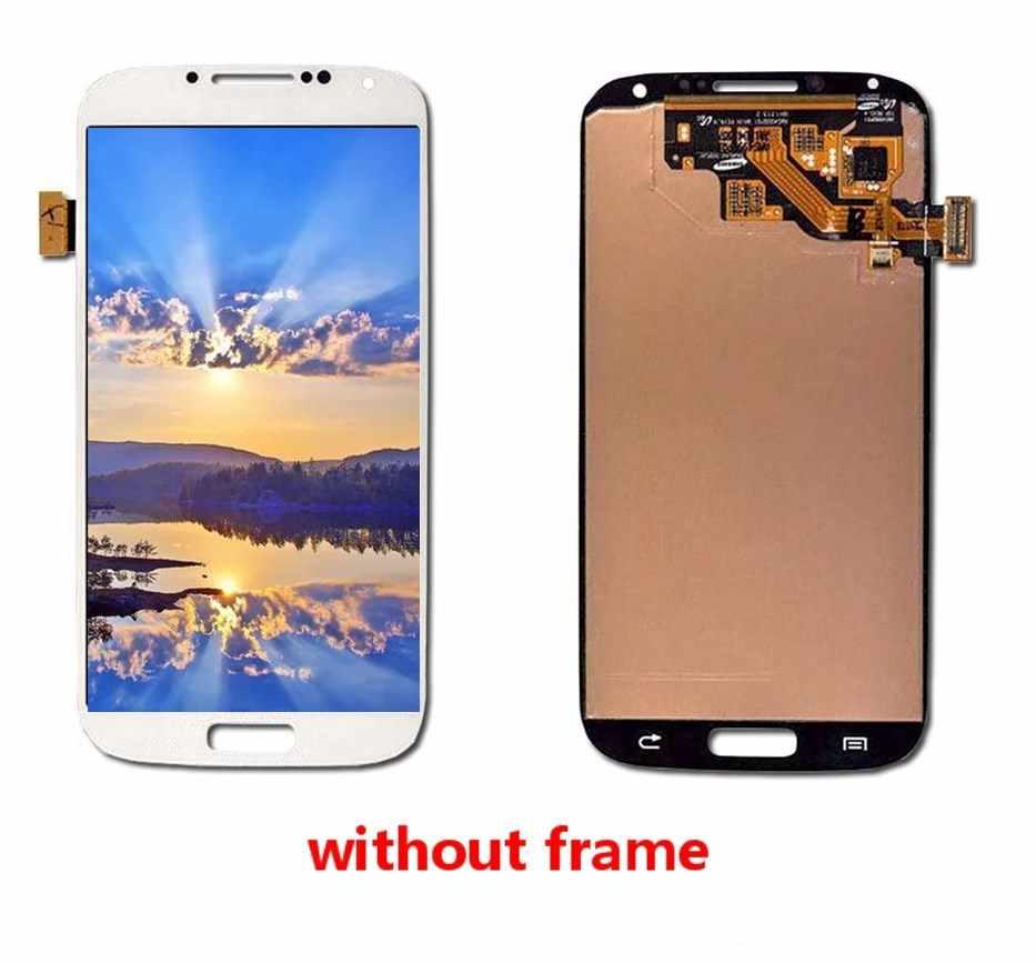 سوبر OLED شاشات LCD لسامسونج غالاكسي S4 LCD GT-I9505 I9500 i337 شاشة الكريستال السائل مع مجموعة المحولات الرقمية لشاشة تعمل بلمس مع شاشة الإطار