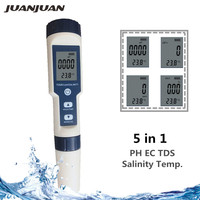 5 In 1 Digital PH TDS EC Meter Salinity Temperature Tester Conductivity Water Filter Purity Pen with backlight 40%off