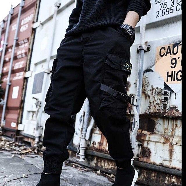 2021Hip Hop Joggers Mens Black Harem Pants Multi Pocket Ribbons Mens Sports Pants Streetwear Cargo Pants Men Japanese Streetwear 3