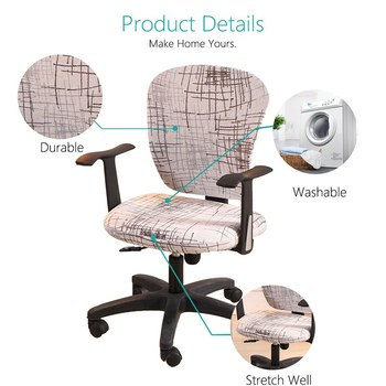 Spandex Printed Computer Chair Cover - Office Chair Cover 2 Pieces Set 2 Chair And Sofa Covers
