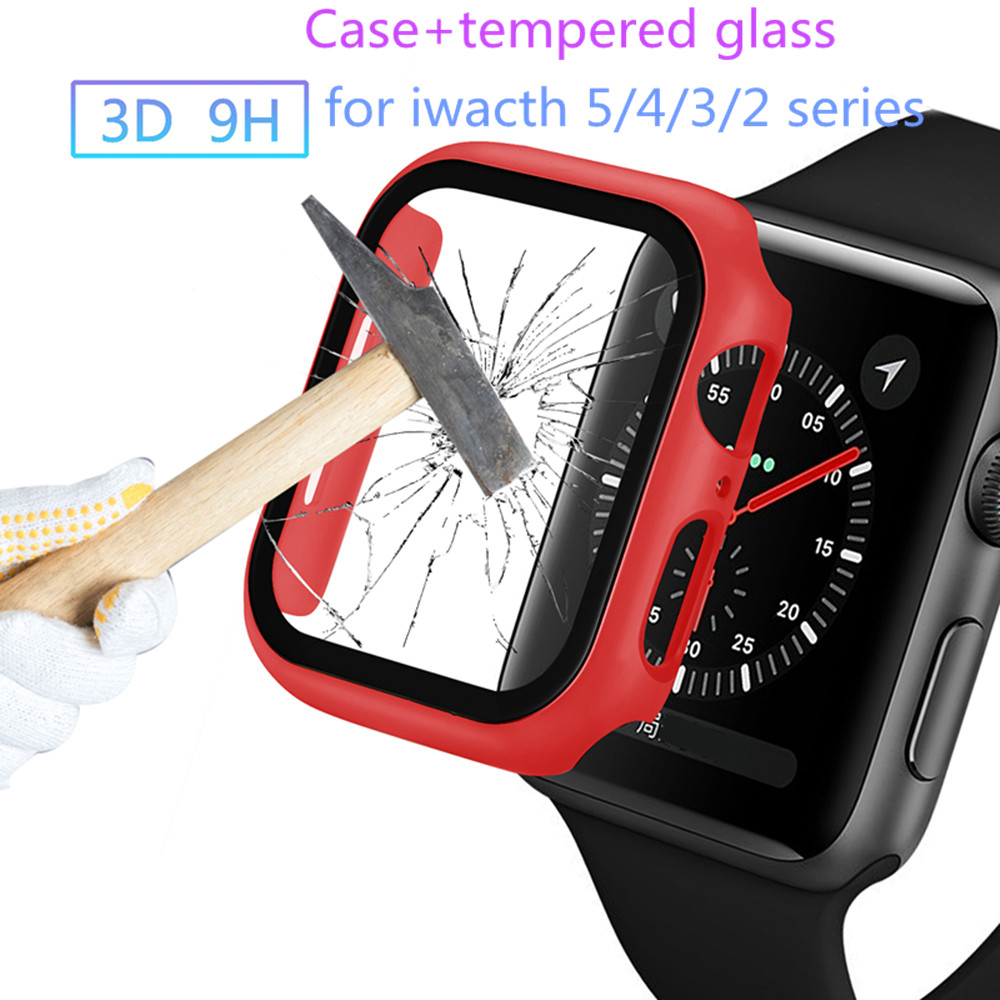 360 full Screen protector Bumper Frame PC matte hard Case for Apple watch 5/4/3/2 coverTempered glass film for iwatch 40mm 44mm
