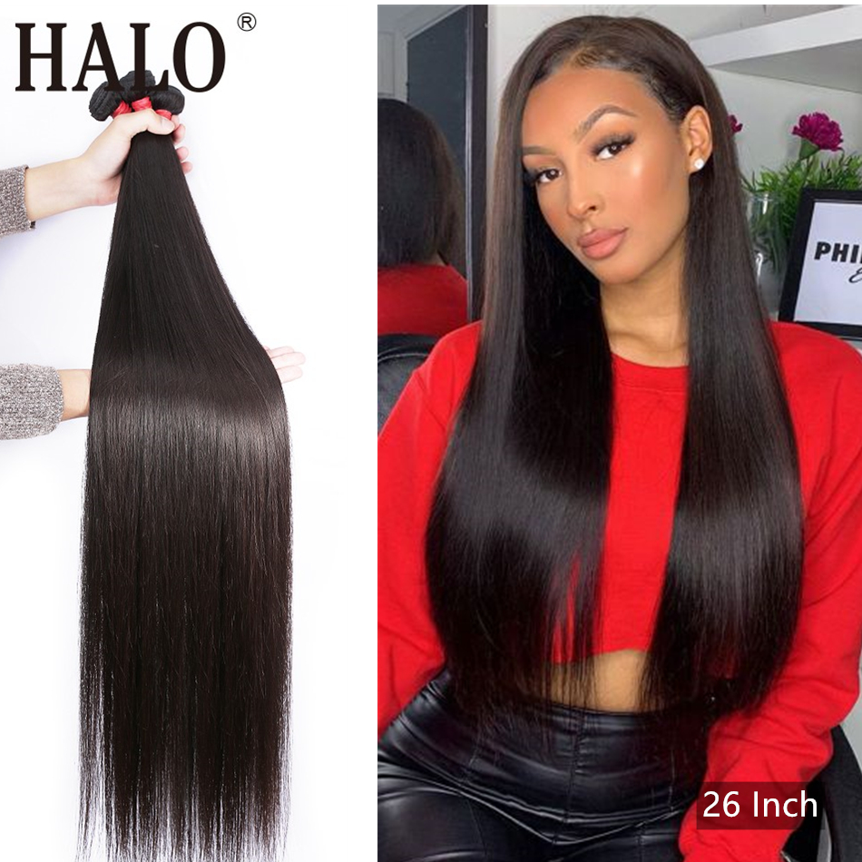 Halo Straight 28 30 40 Inch 3 4 Bundles Brazilian Hair Weave Bundles Natural Color 100% Human Hair Long Remy Hair Extension
