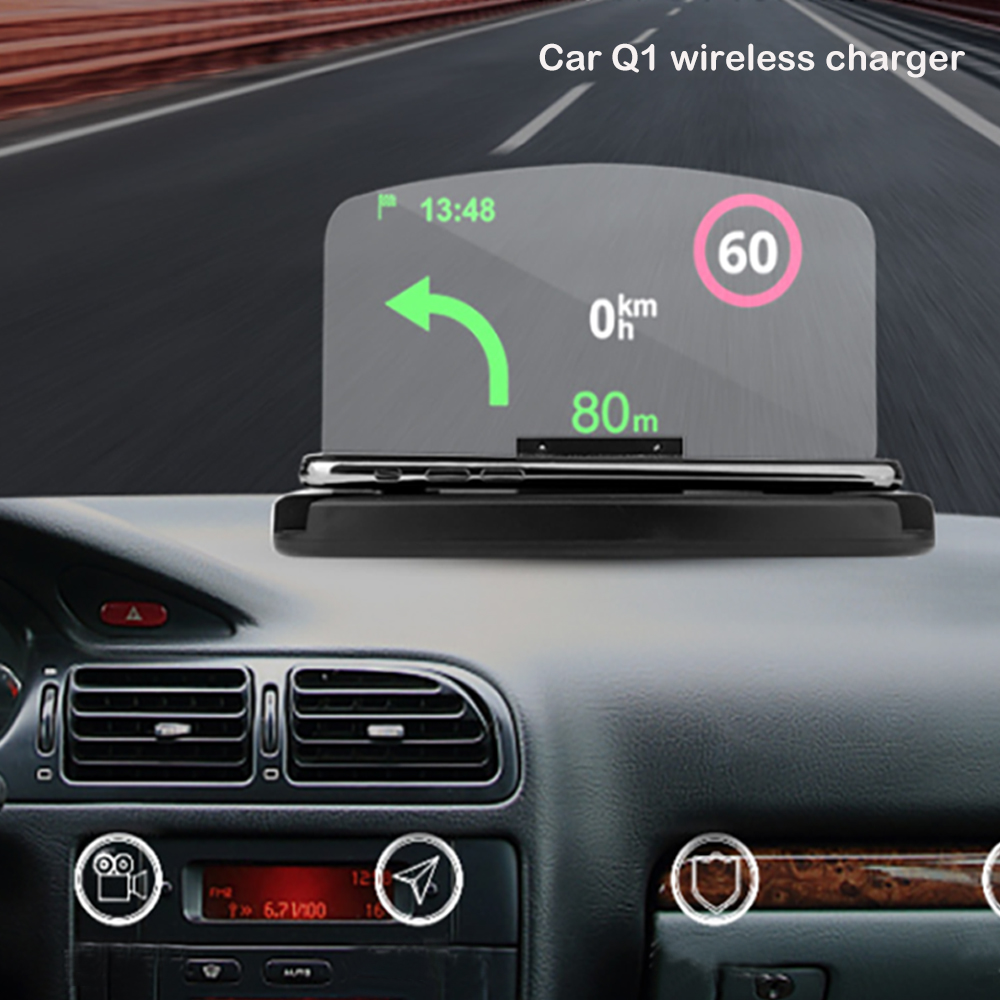 Qi cargador de coche inalámbrico Smartphone proyector HUD Head Up Display Holder coche navegador GPS Car Mount alta definición Reflect Lovebay 48W cargador rápido USB 3,0 cargador para iphone Samsung Tablet EU US adaptador de enchufe cargador de pared para teléfono móvil carga rápida