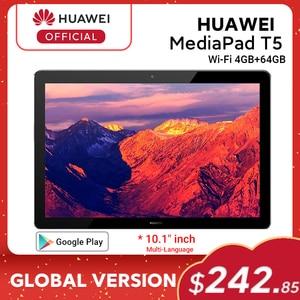 Versão global huawei mediapad t5 4 gb 64 gb tablet pc 10.1 polegada octa núcleo duplo alto-falante 5100 mah suporte cartão microsd android 8.0