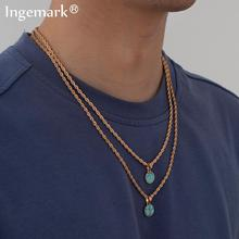 Vintage Blue Stone Pendant Choker Necklace for Women Collares Boho Unique Simple Beaded Tassel Necklaces Girlfriend Neck Jewelry