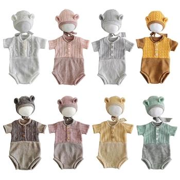 2 szt Niemowlęta kapelusz Romper kombinezon zestaw noworodka fotografia rekwizyty niemowlęta sesja zdjęciowa stroje kostiumowe tanie i dobre opinie CN (pochodzenie) W wieku 0-6m Unisex Akrylowe Infants Hat Romper Jumpsuit Patchwork baby