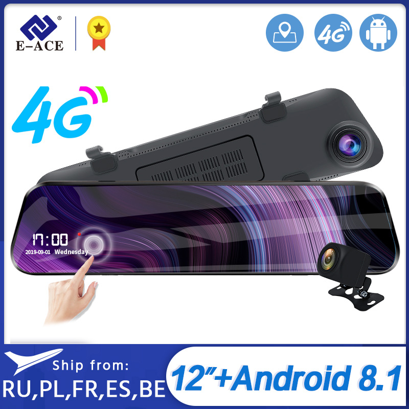 E-ACE <font><b>Car</b></font> <font><b>Dvr</b></font> ADAS 4G stream media Rear View <font><b>Mirror</b></font> Full HD 1920x1080 Dash cam Dual Lens Video <font><b>Recorder</b></font> Android <font><b>GPS</b></font> <font><b>Car</b></font> Camera image