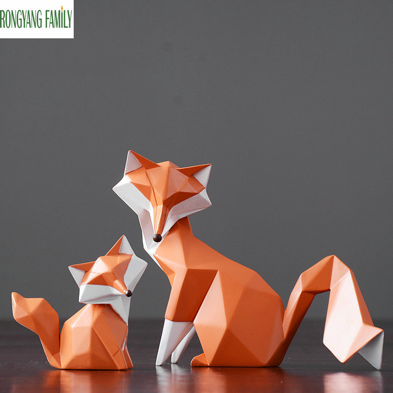 Nordic Fashion Fox Sculpture Modern Animal Foxhound Statue Home Decoration Fox Miniatures Creative Geometric Resin Tod Figurines